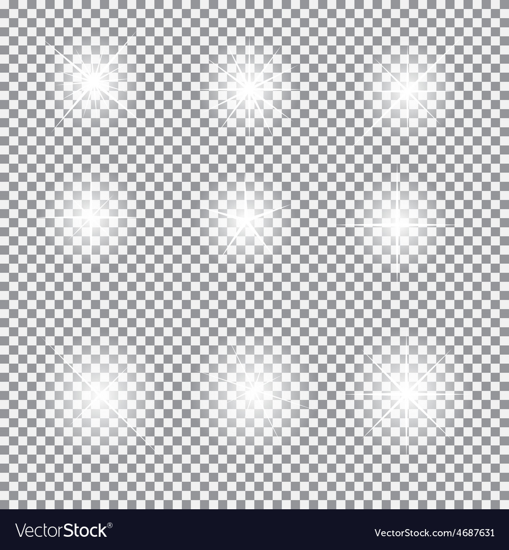 Set of glowing light stars with sparkles vector | Price: 1 Credit (USD $1)