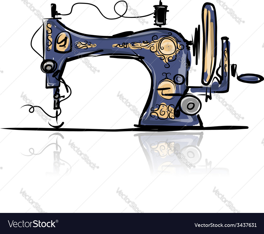 Sewing machine retro sketch for your design vector | Price: 1 Credit (USD $1)