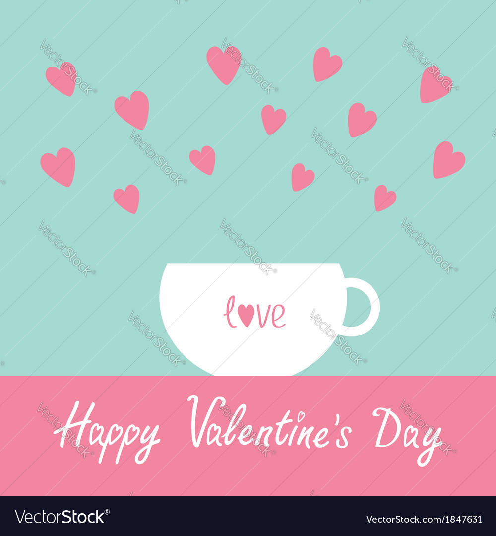 Teacup with hearts happy valentines day vector | Price: 1 Credit (USD $1)