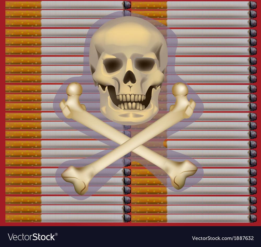 Banner no smoking cigarette  skull on cigarettes vector | Price: 1 Credit (USD $1)