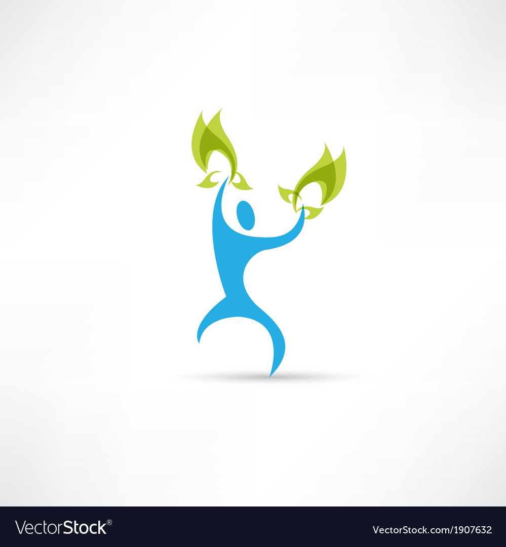 Blue people with leaves icon vector | Price: 1 Credit (USD $1)