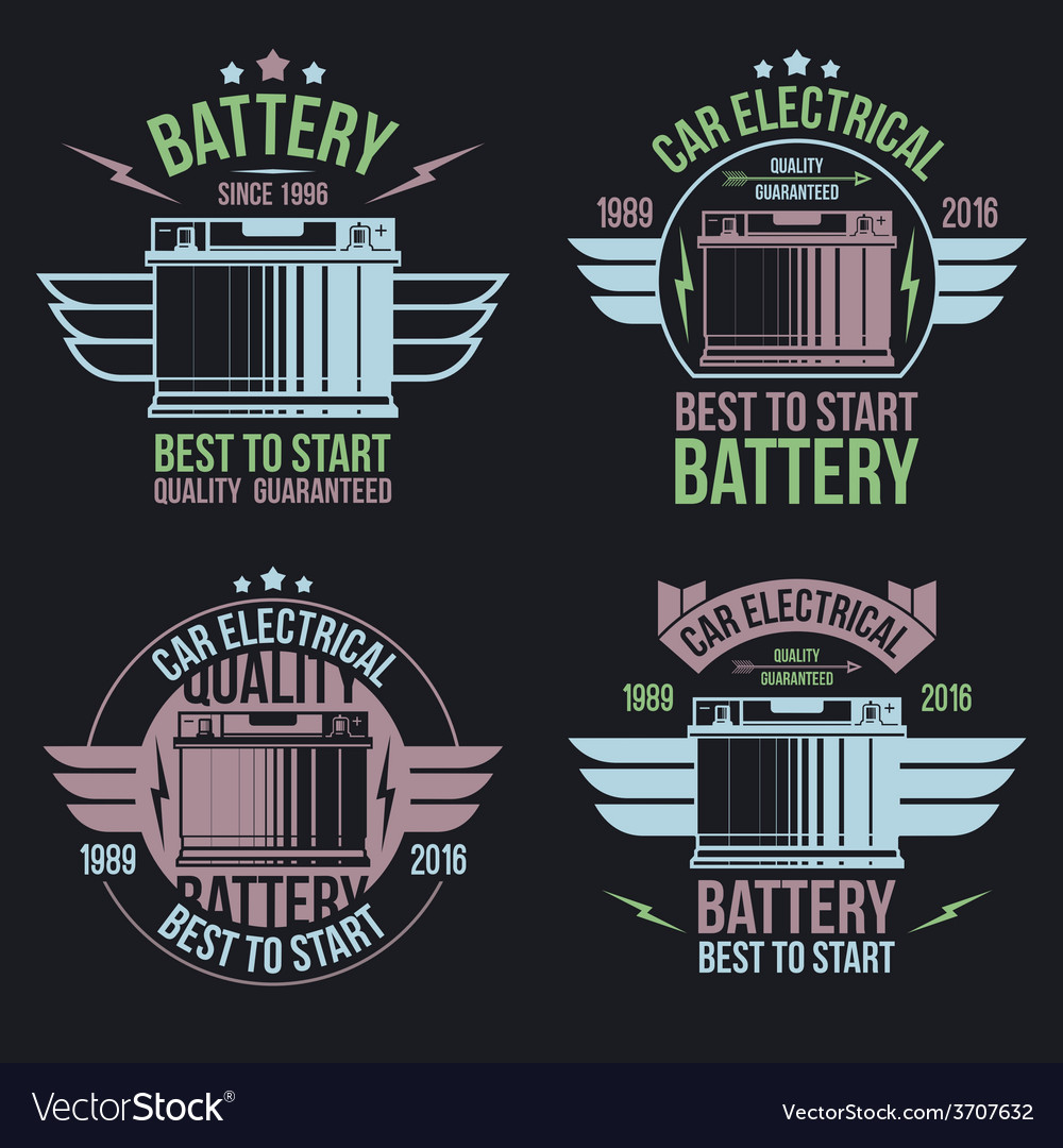 Car battery shop emblems vector | Price: 1 Credit (USD $1)