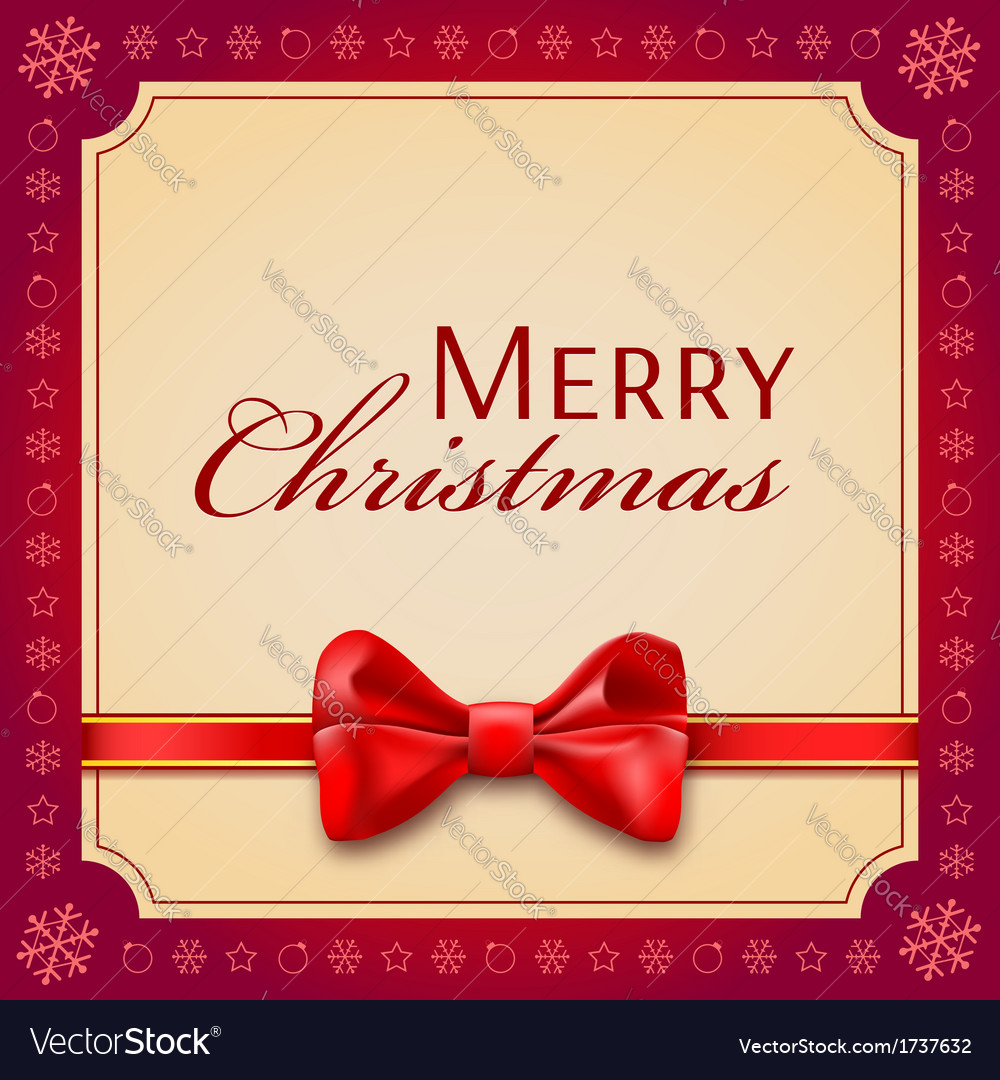Christmas card with a red bow and ribbon vector | Price: 1 Credit (USD $1)