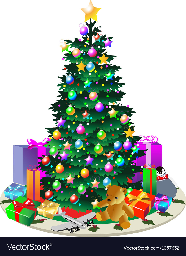 Christmas tree with presents vector