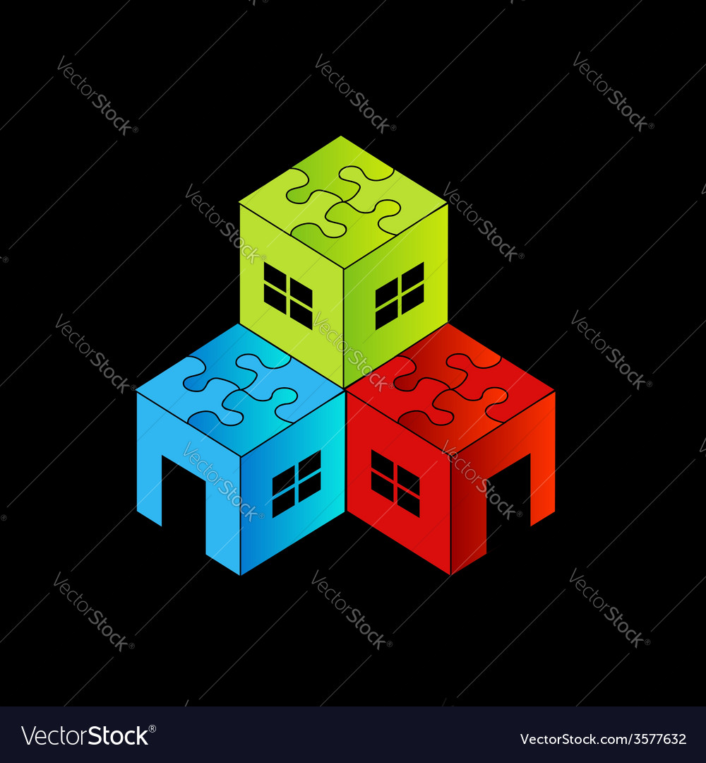 Colorful logo for real estate market with a puzzle vector | Price: 1 Credit (USD $1)