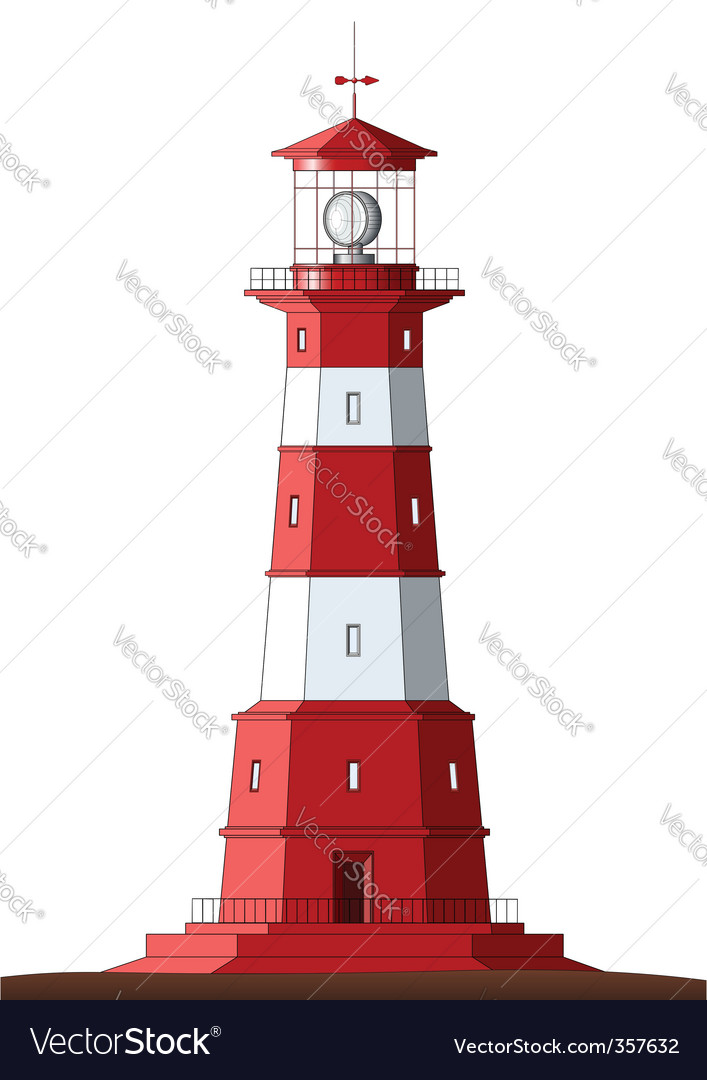 Detailed lighthouse isolated on white vector | Price: 1 Credit (USD $1)
