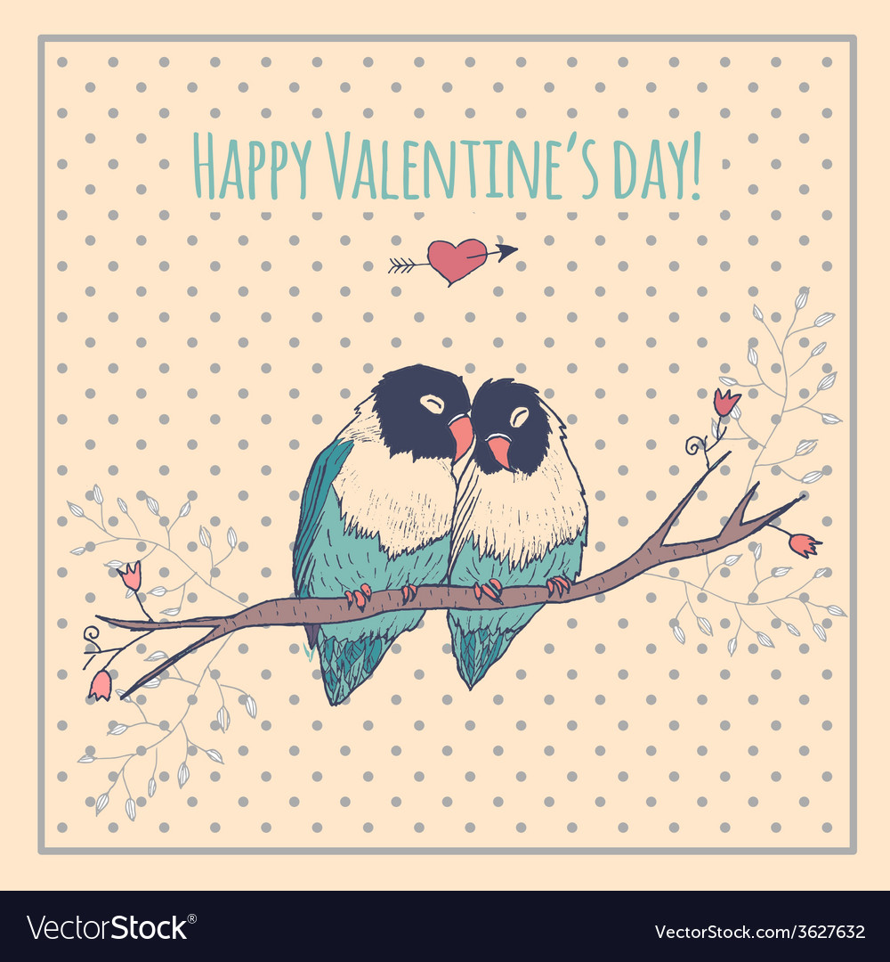 Happy valentines day card with love birds and vector | Price: 1 Credit (USD $1)