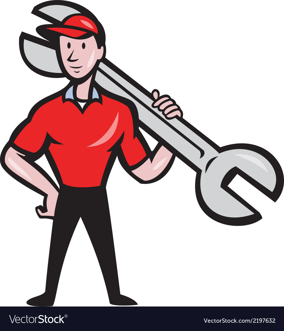 Mechanic hold spanner on shoulder cartoon vector | Price: 1 Credit (USD $1)
