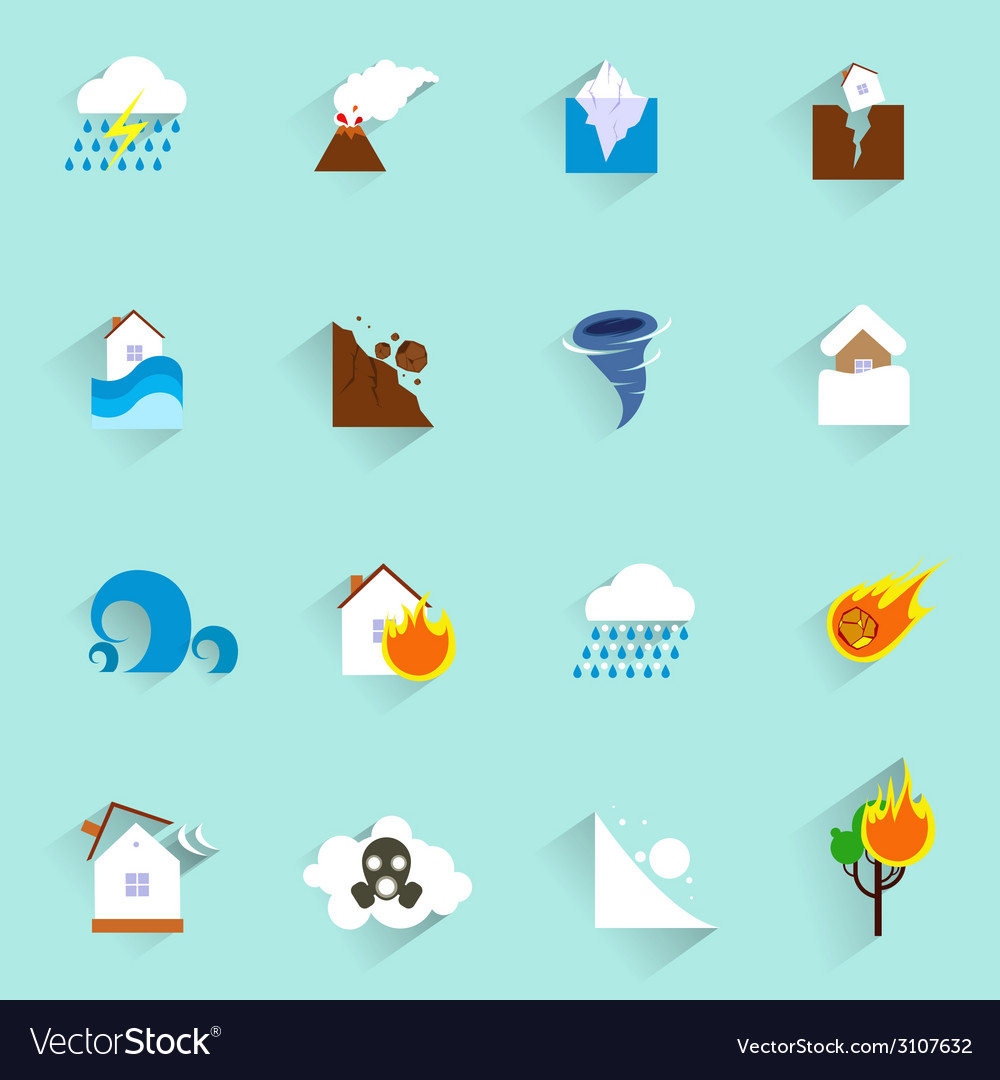 Natural disaster icons flat vector | Price: 1 Credit (USD $1)