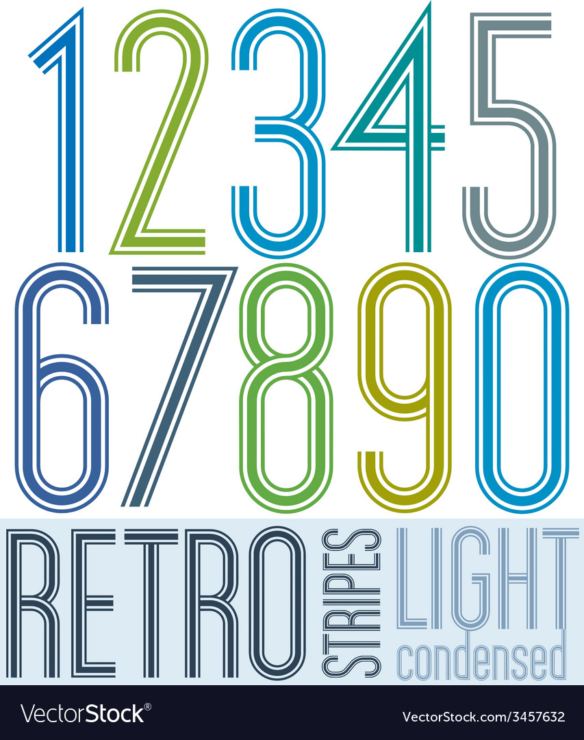 Poster retro light condensed colorful numbers with vector | Price: 1 Credit (USD $1)