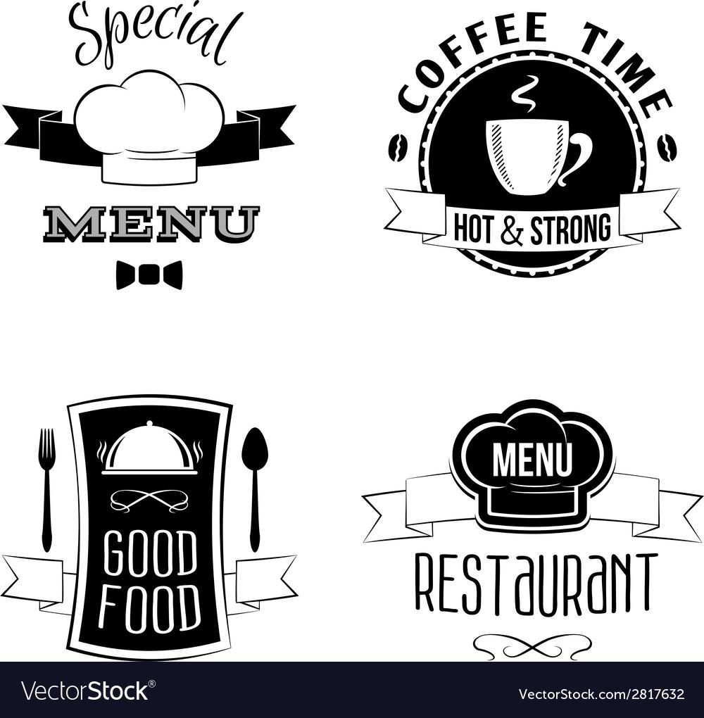 Restaurant menu emblems set vector | Price: 1 Credit (USD $1)