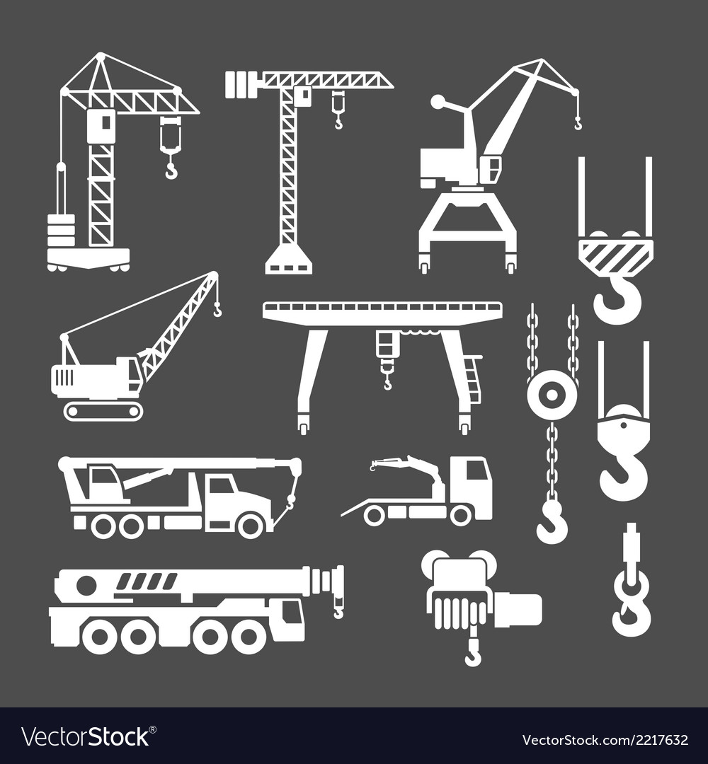 Set icons of crane lifts and winches vector | Price: 1 Credit (USD $1)