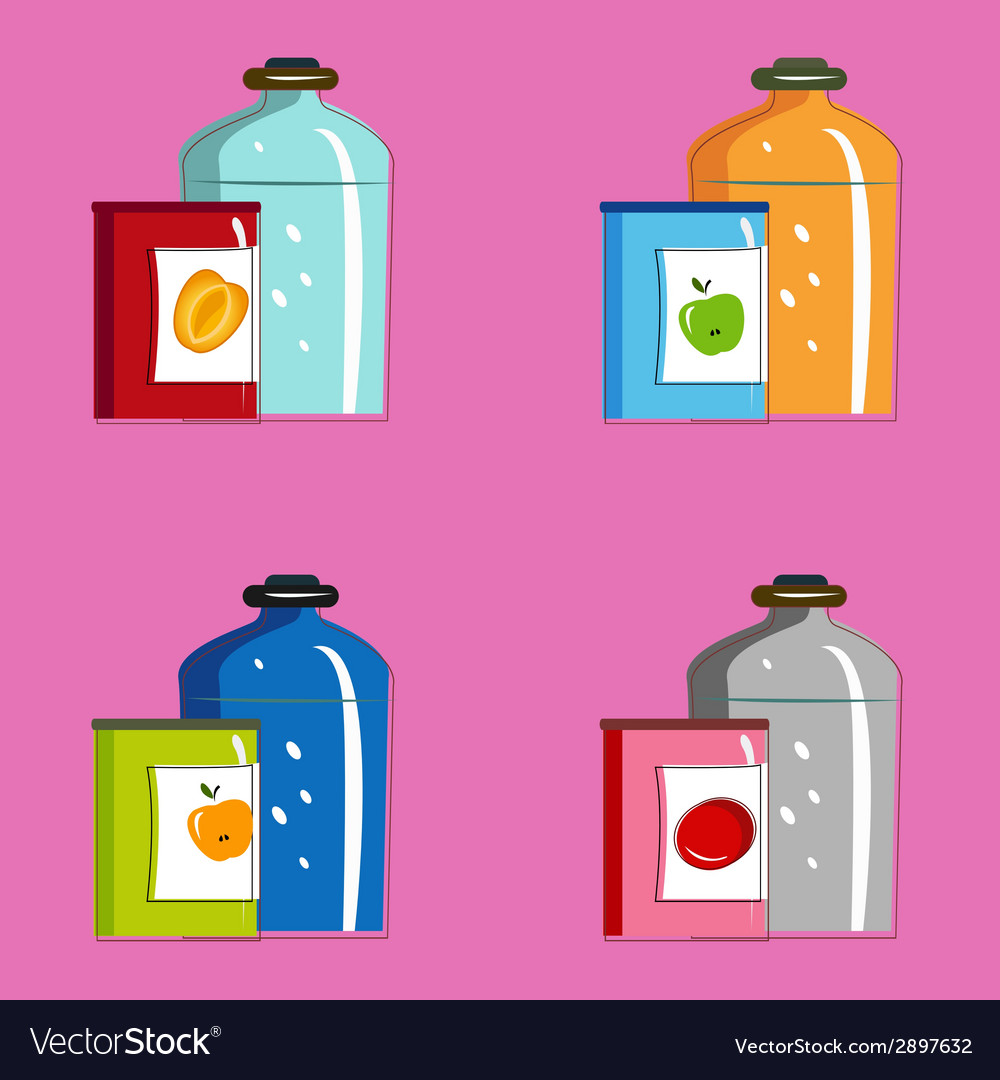 Set jars with tinned vegetables and fruits vector | Price: 1 Credit (USD $1)