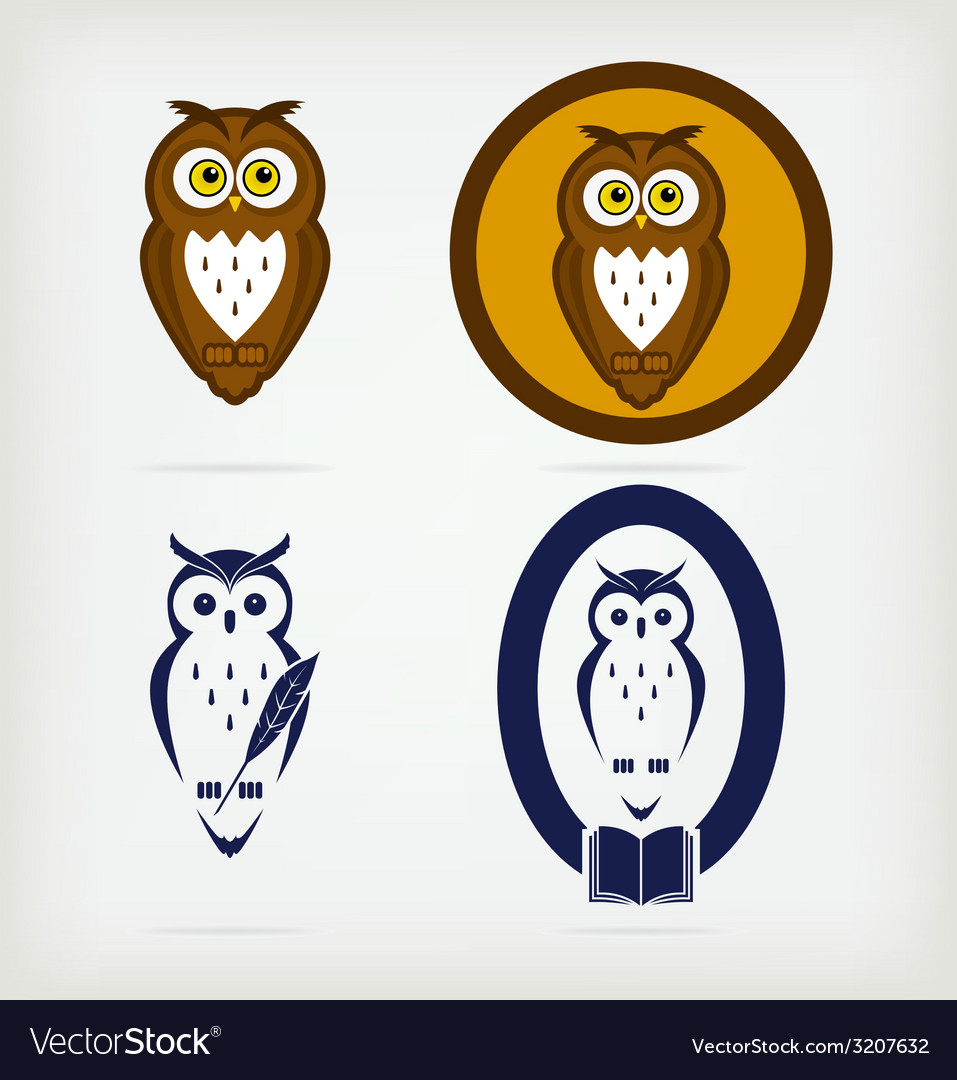 Set of wise owls vector | Price: 1 Credit (USD $1)