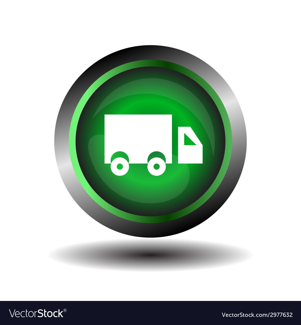 Truck icon on glossy green round button vector | Price: 1 Credit (USD $1)