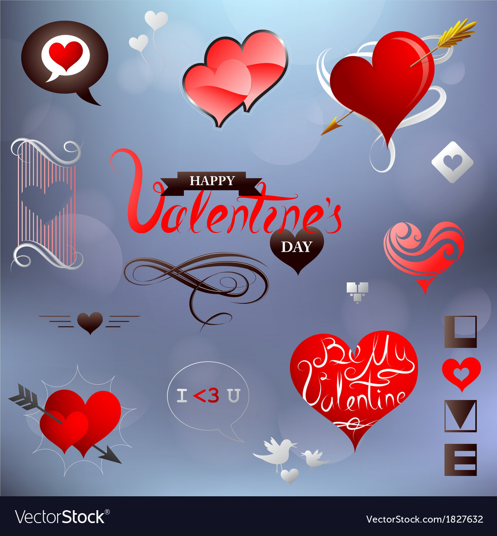 Valentines related design elements set vector | Price: 1 Credit (USD $1)