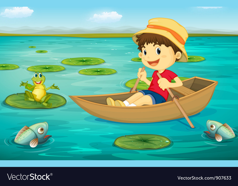 Boy in boat vector | Price: 3 Credit (USD $3)