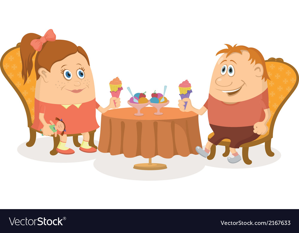 Children near table isolated vector   Price: 1 Credit (USD $1)