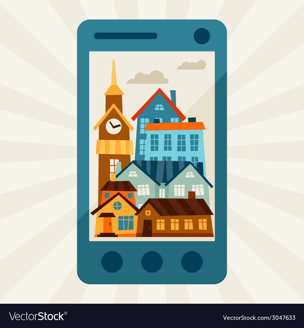 Concept with mobile phone and city panorama vector | Price: 1 Credit (USD $1)