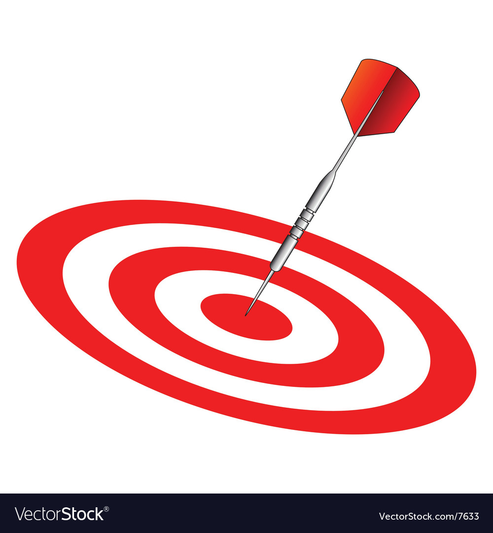 Dart on dartboard center vector | Price: 1 Credit (USD $1)