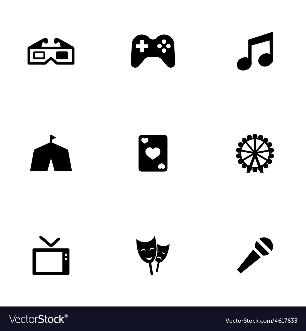 Entertainment 9 icons set vector | Price: 1 Credit (USD $1)
