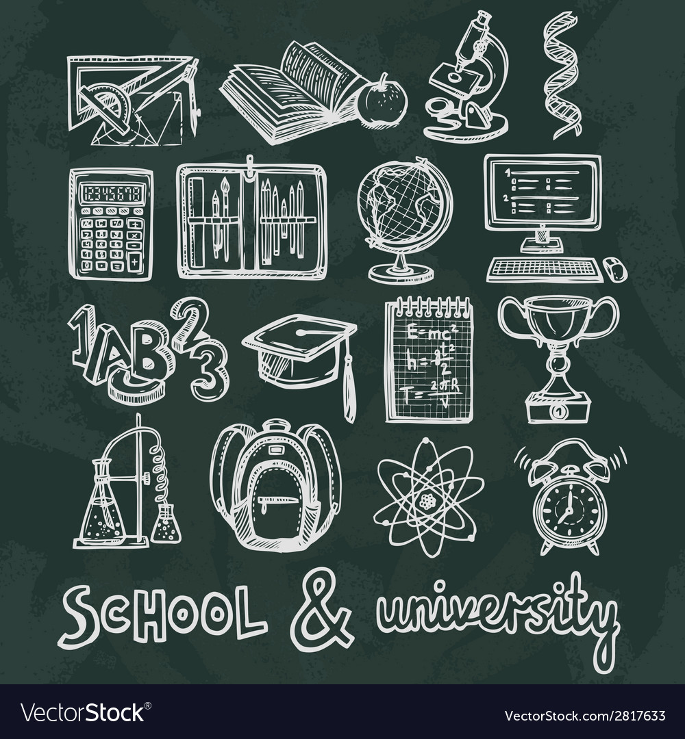 School education chalkboard icons vector | Price: 1 Credit (USD $1)