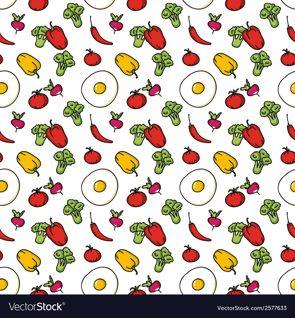 Seamless kitchen background of vegetables vector | Price: 1 Credit (USD $1)