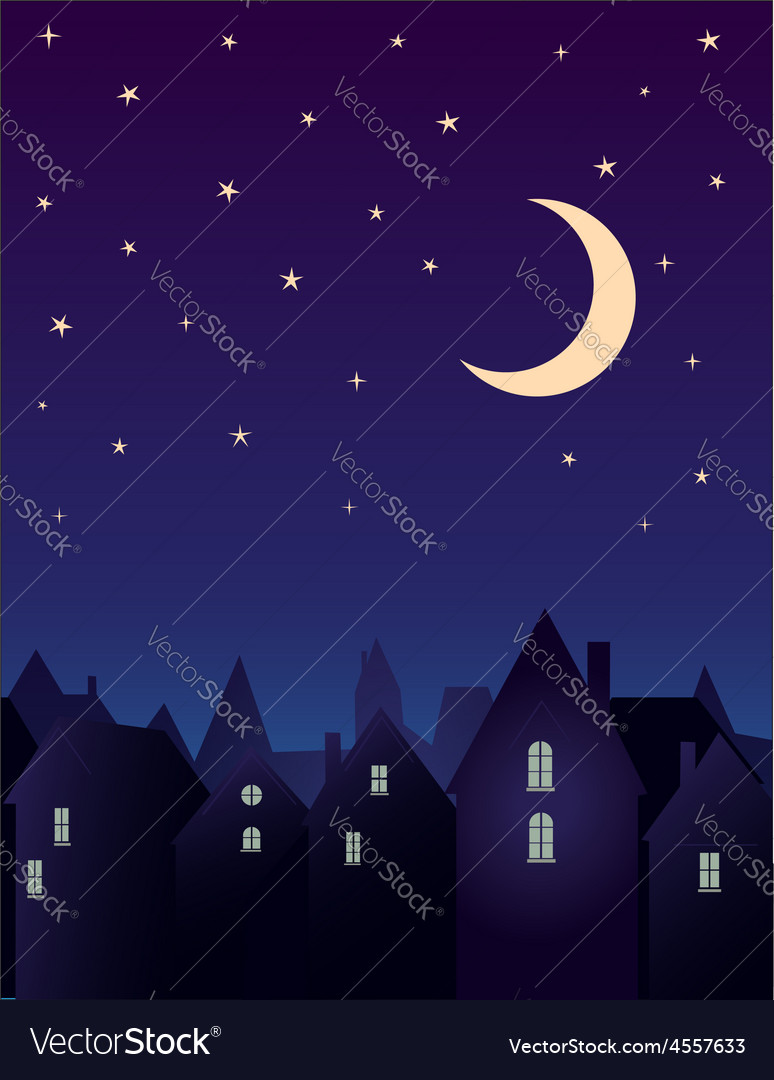Silhouette of the city and night sky vector | Price: 1 Credit (USD $1)
