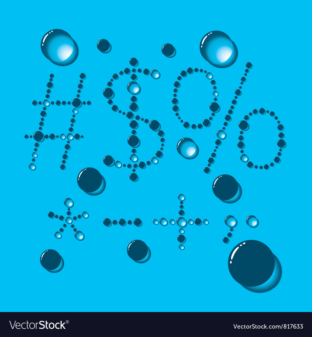 Water drop letters on blue new 12 vector | Price: 1 Credit (USD $1)