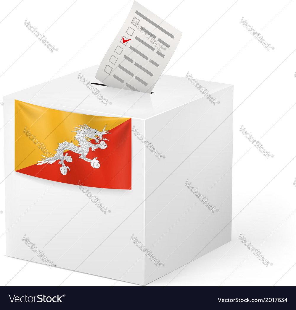 Ballot box with voting paper bhutan vector | Price: 1 Credit (USD $1)