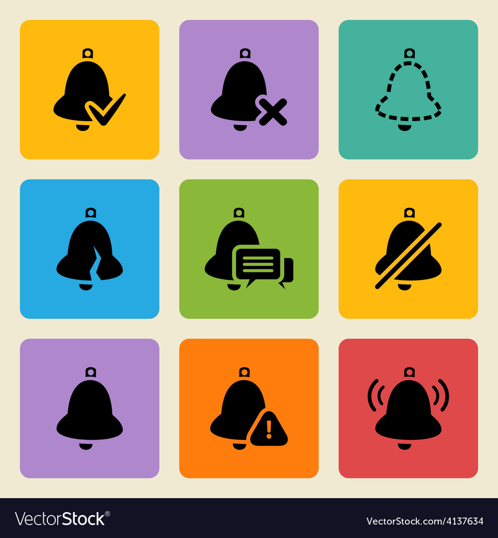 Black bell icons set vector | Price: 1 Credit (USD $1)