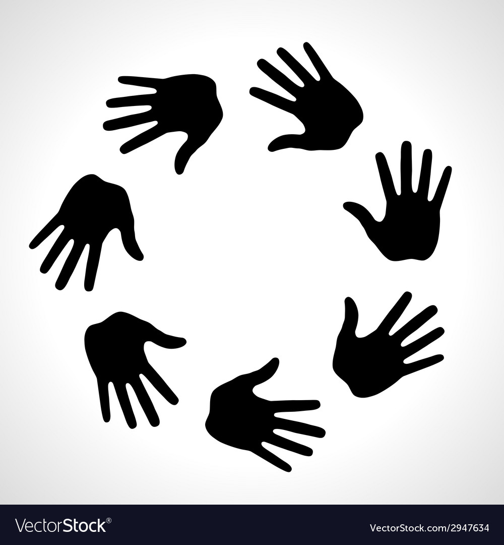 Black hand print icon logo vector | Price: 1 Credit (USD $1)