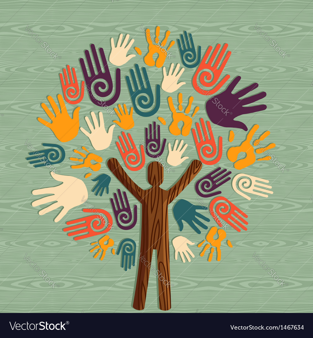 Diversity human tree hands vector | Price: 1 Credit (USD $1)
