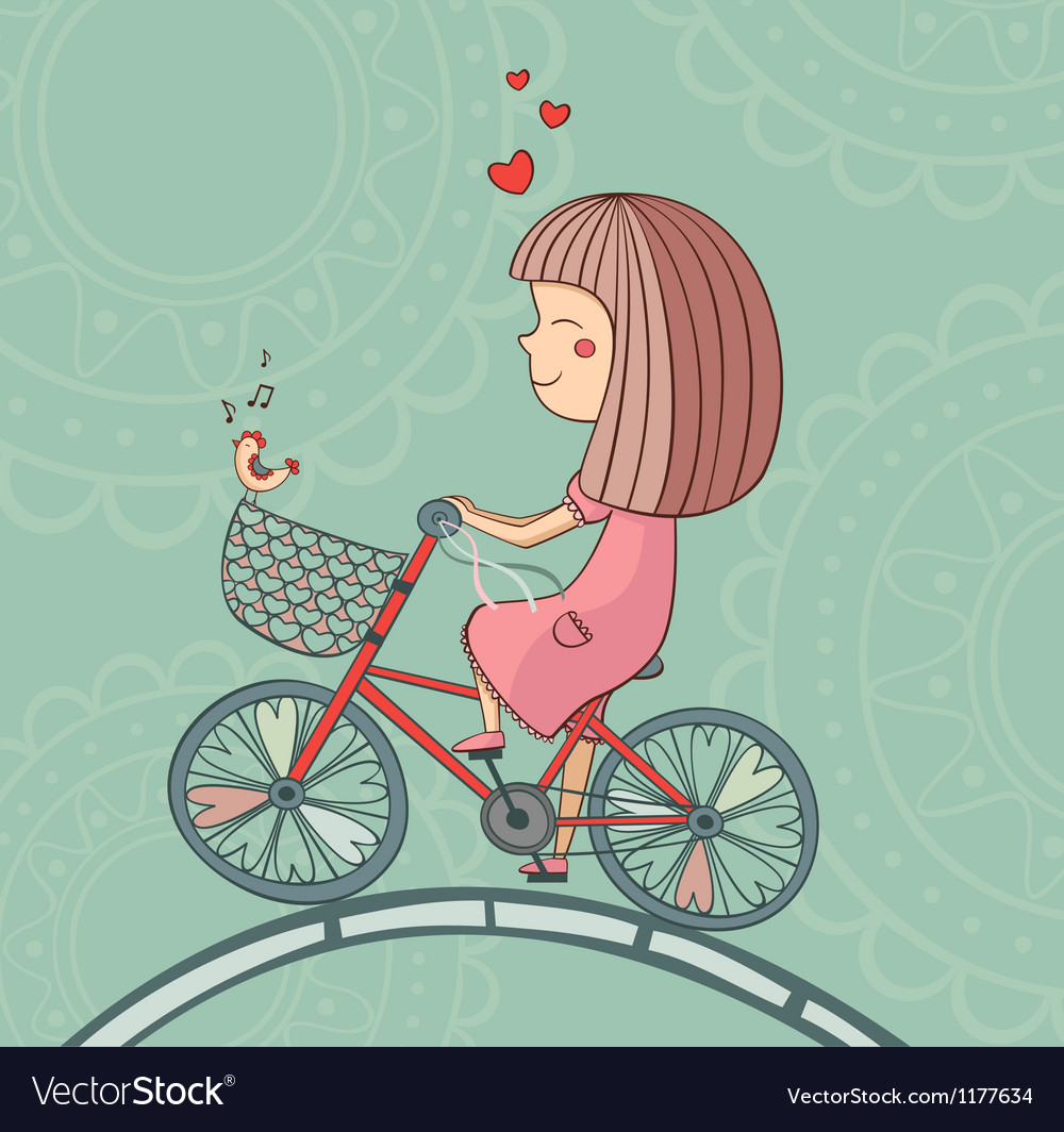 Enamored girl on bicycle vector | Price: 1 Credit (USD $1)