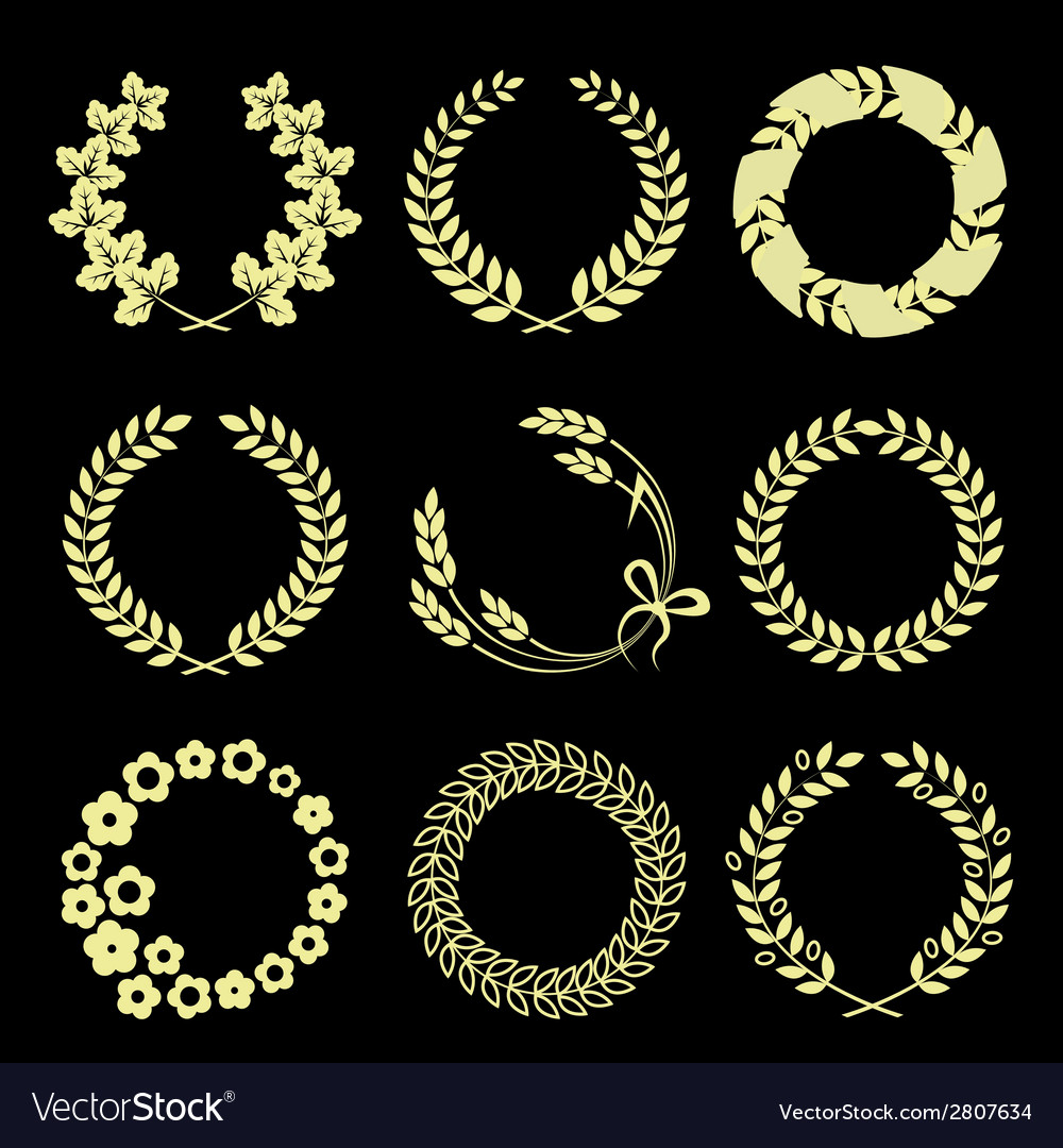 Golden wreaths isolated on black background vector | Price: 1 Credit (USD $1)