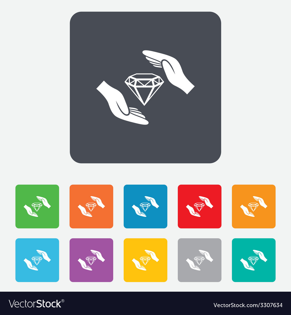 Jewelry insurance sign hands protect diamonds vector   Price: 1 Credit (USD $1)