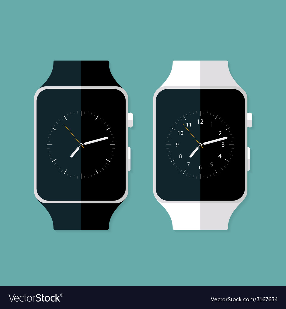 Light and dark flat smart watches vector | Price: 1 Credit (USD $1)
