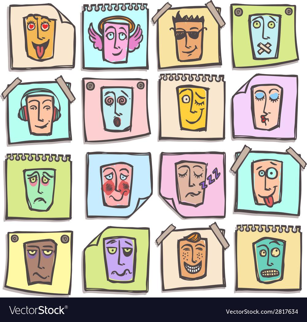 Sketch emoticons stickers set vector | Price: 1 Credit (USD $1)