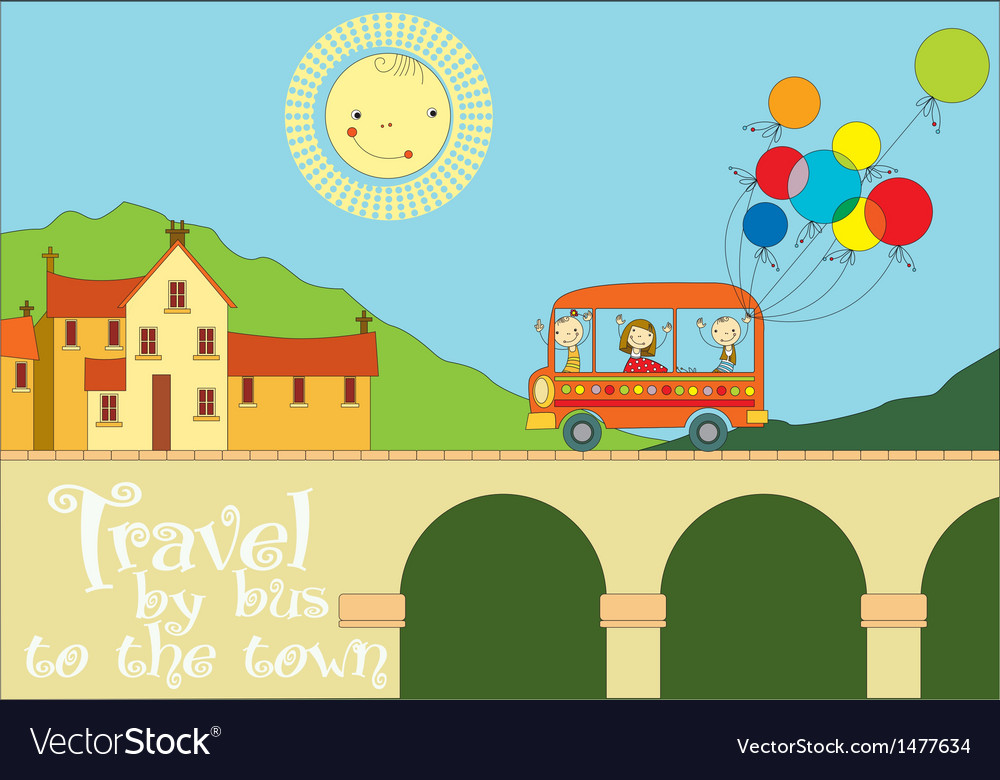 Travel by bus to the town vector | Price: 3 Credit (USD $3)