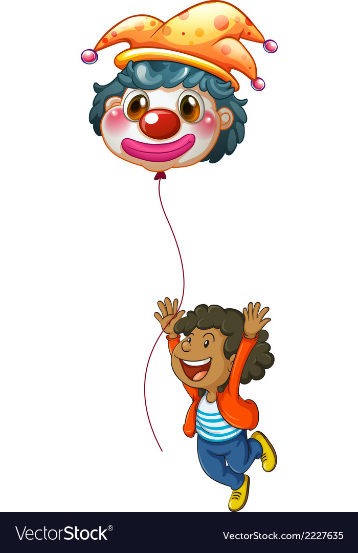 A happy boy holding a clown balloon vector | Price: 1 Credit (USD $1)