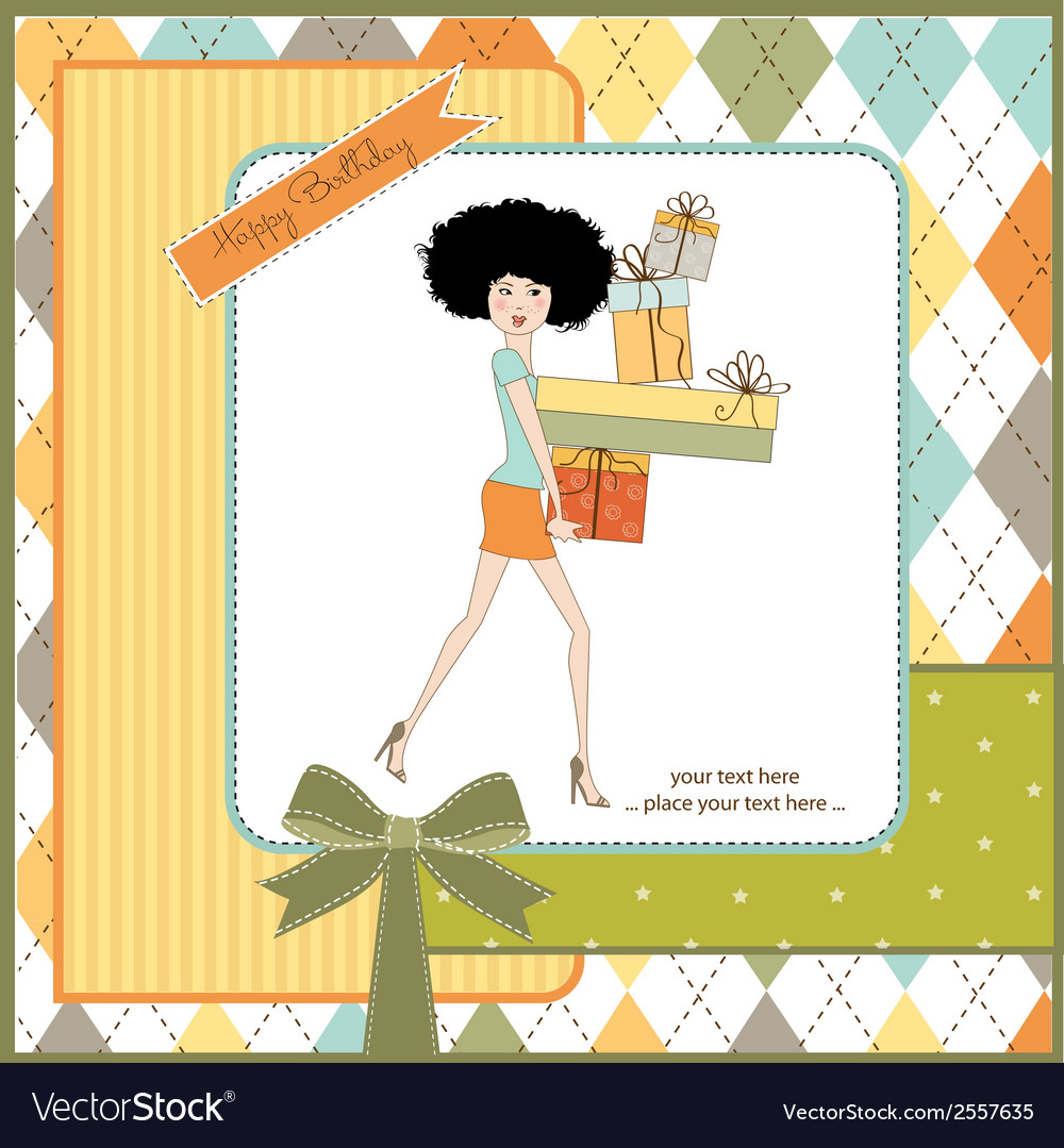 Birthday card - pretty young lady with arms full vector | Price: 1 Credit (USD $1)