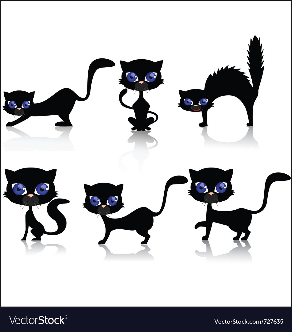Black cat cartoon collection vector | Price: 1 Credit (USD $1)