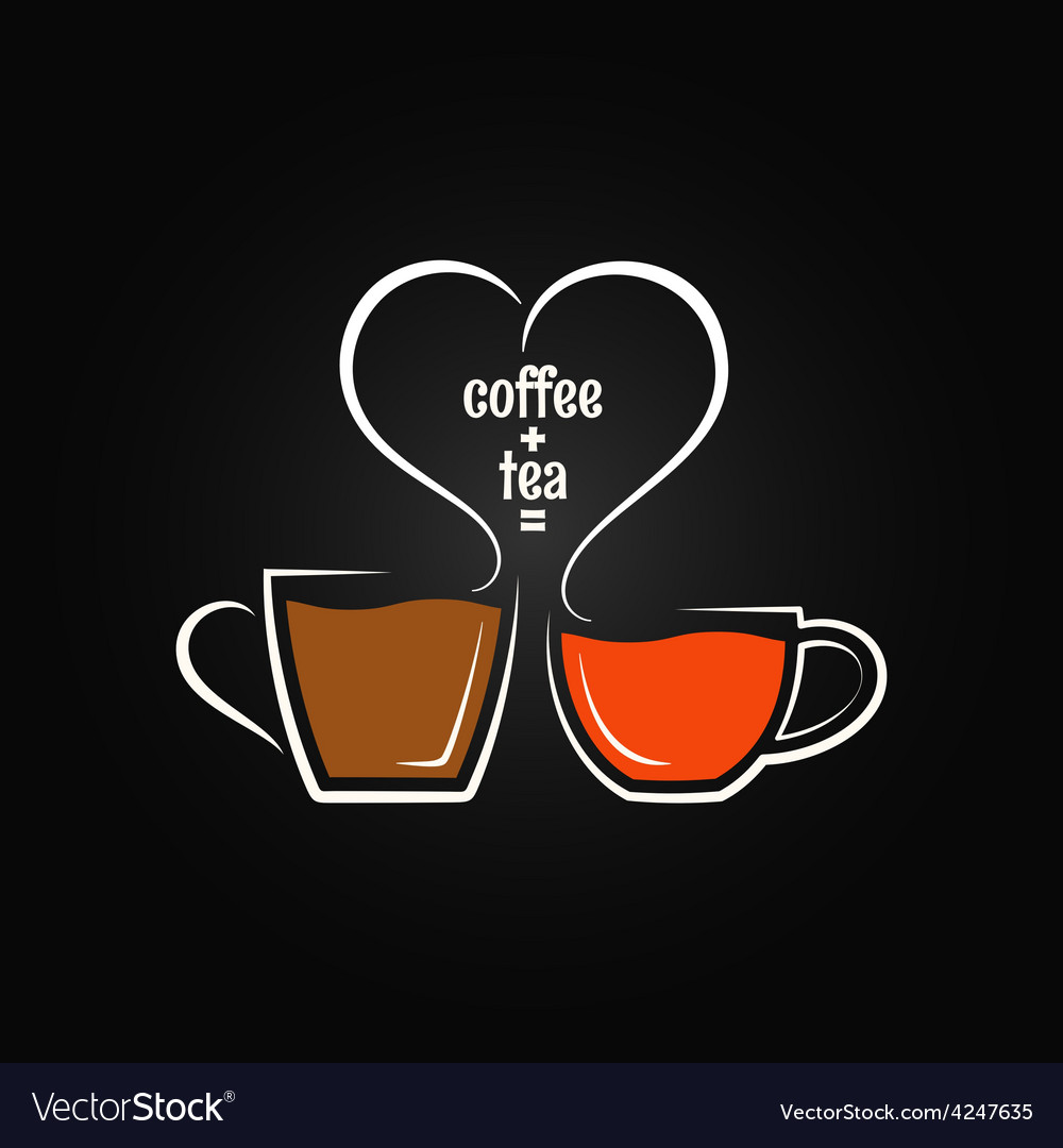 Coffee tea love concept background vector | Price: 1 Credit (USD $1)