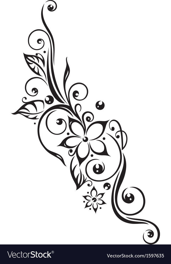 Flowers tendril vector | Price: 1 Credit (USD $1)