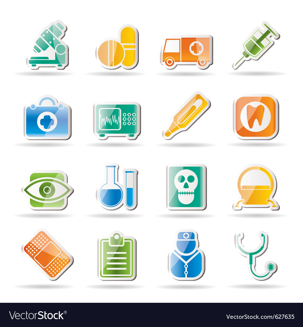 Hospital and health care icons vector | Price: 1 Credit (USD $1)