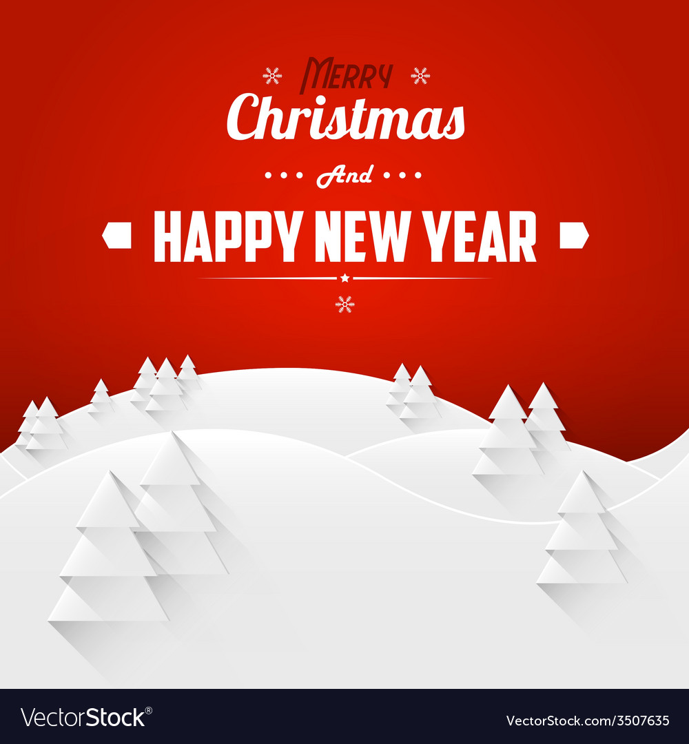 Merry christmas and happy new year landscape vector | Price: 1 Credit (USD $1)