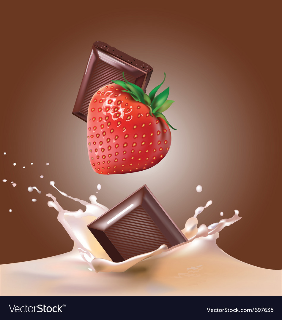Milk and chocolate strawberries vector | Price: 3 Credit (USD $3)