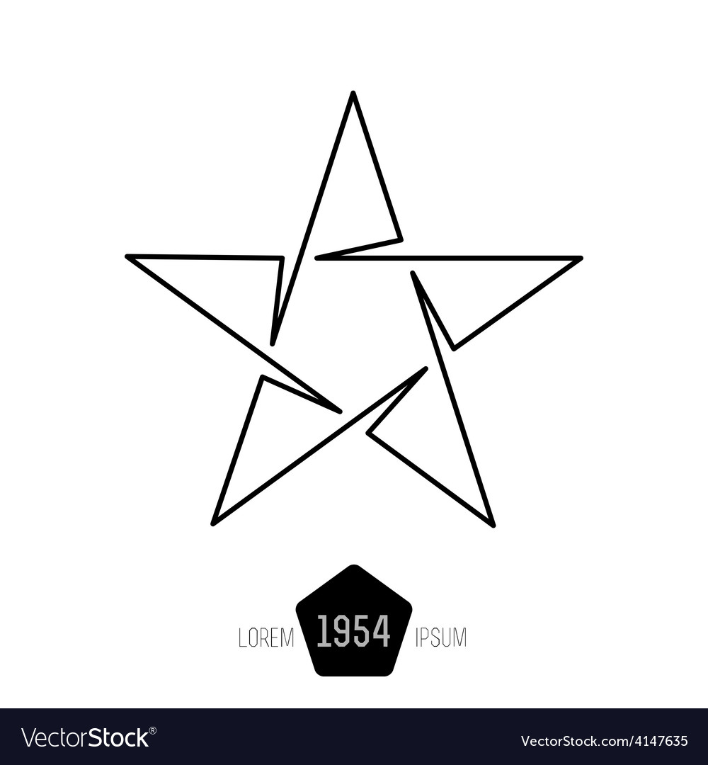 Minimal monochrome vintage star made of thin lines vector | Price: 1 Credit (USD $1)