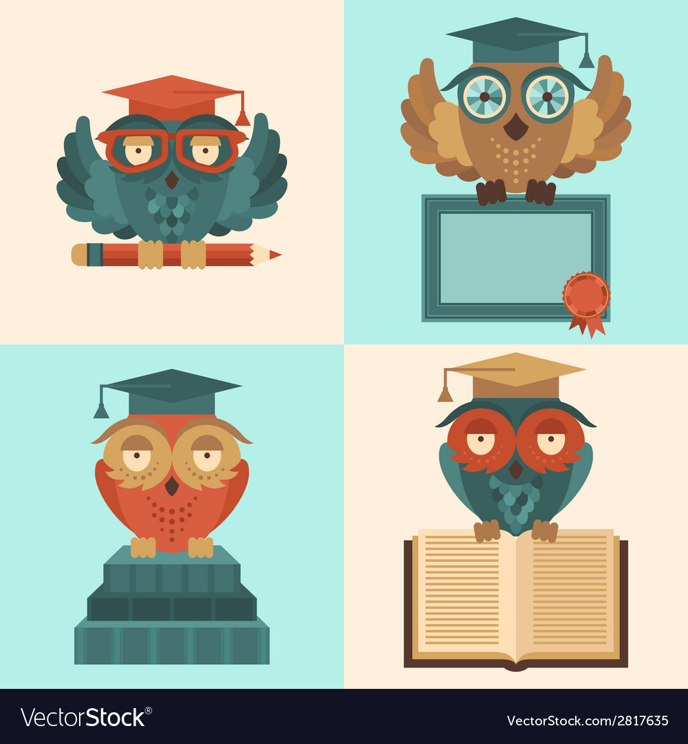 Owls in graduation caps set flat vector | Price: 1 Credit (USD $1)