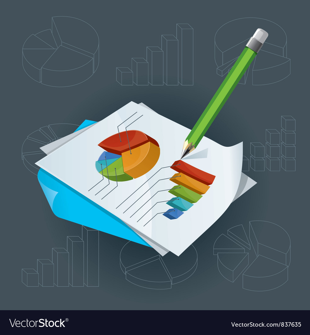 Paper with charts and pencil vector | Price: 3 Credit (USD $3)
